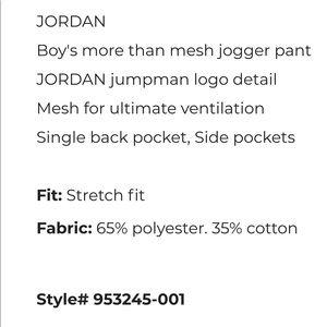 51e87499a5d5e7 Jordan Bottoms - JORDAN BOYS SIZE M MORE THAN MESH JOGGER PANTS